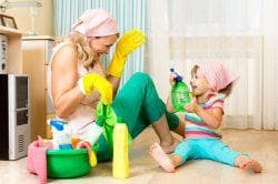 cleaning in the children