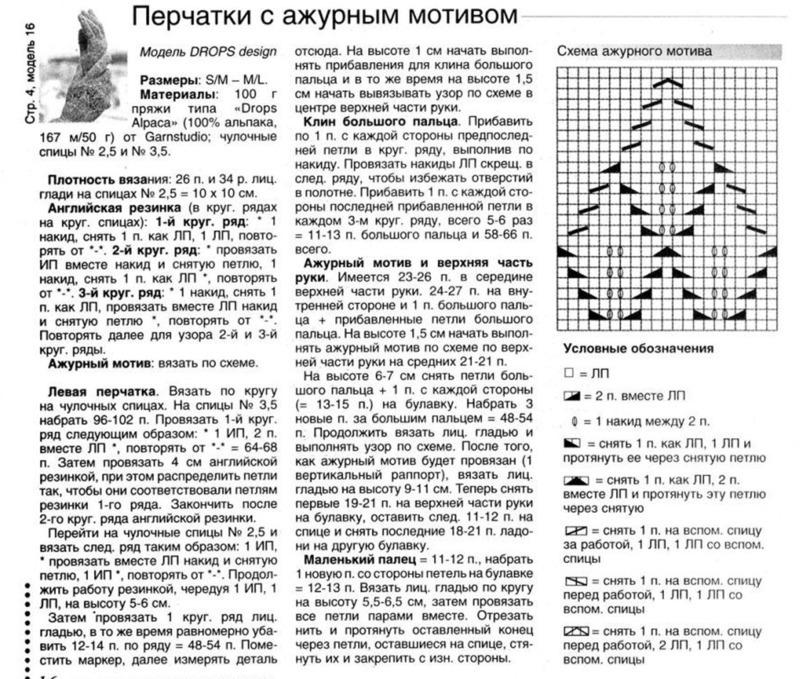 Схема вязания спицами детских перчаток 29